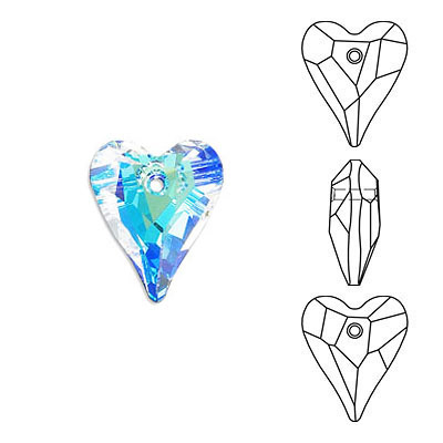 Crystal Swarovski 6240, Wild Heart Pendant. Blue AB Crystal coating. 12mm size.