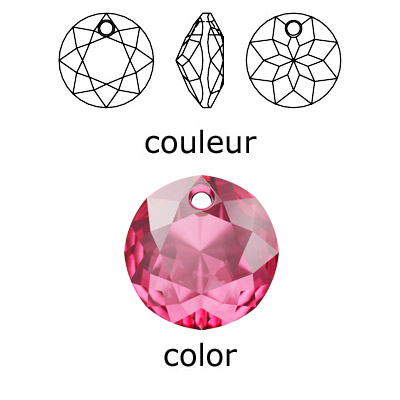 Crystal Swarovski 6430, Classic Cut Pendant. Rose color. 10mm size