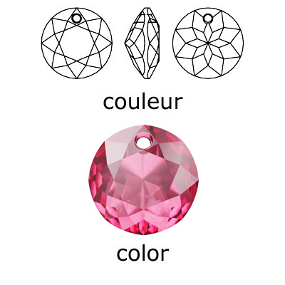 Crystal Swarovski 6430, Classic Cut Pendant. Rose color. 14mm size