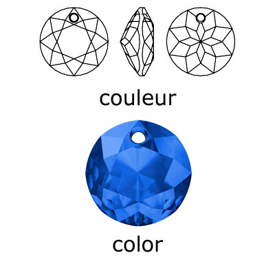 Crystal Swarovski 6430, Classic Cut Pendant. Sapphire color. 14mm size