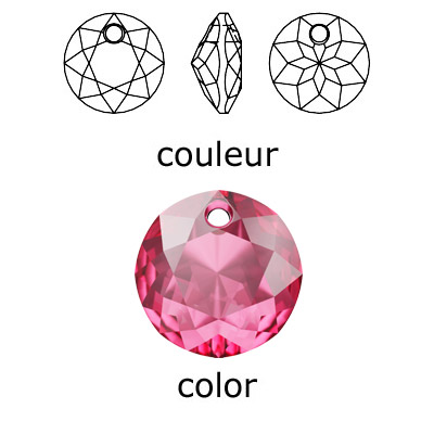 Crystal Swarovski 6430, Classic Cut Pendant. Rose color. 8mm size