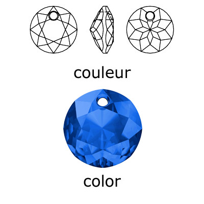 Crystal Swarovski 6430, Classic Cut Pendant. Sapphire color. 8mm size