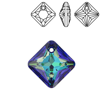 Crystal Swarovski 6431, Princess Cut Pendant. Crystal Bermuda Blue coating. 11mm size