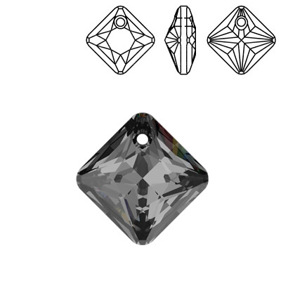 Crystal Swarovski 6431, Princess Cut Pendant. Crystal Silver Night coating. 11mm size