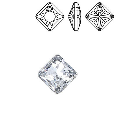 Crystal Swarovski 6431, Princess Cut Pendant. Silver coating. 11mm size