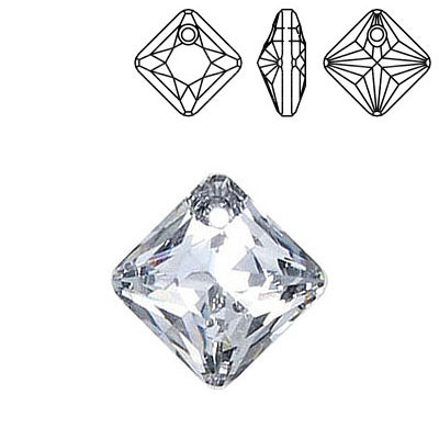 Crystal Swarovski 6431, Princess Cut Pendant. Silver coating. 16mm size