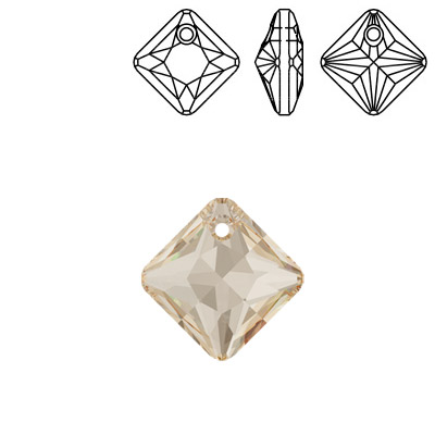 Crystal Swarovski 6431, Princess Cut Pendant. Crystal Golden Shadow coating. 9mm size