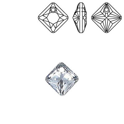 Crystal Swarovski 6431, Princess Cut Pendant. Silver coating. 9mm size