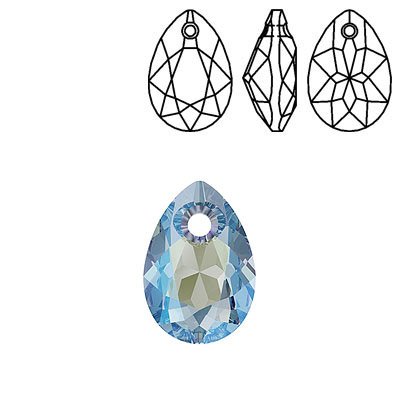 Crystal Swarovski 6433, Pear Cut Pendant. Aquamarine Shimmer coating. 11mm size