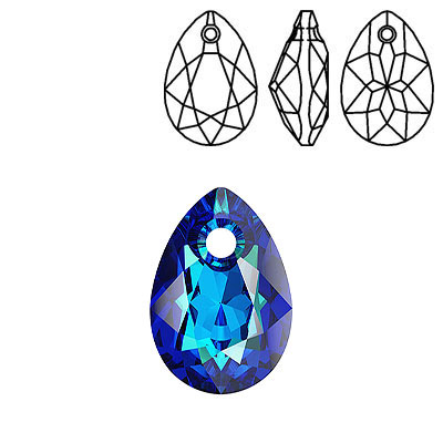 Crystal Swarovski 6433, Pear Cut Pendant. Crystal Bermuda Blue coating. 16mm size