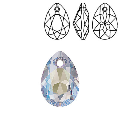 Crystal Swarovski 6433, Pear Cut Pendant. Crystal Shimmer coating. 16mm size