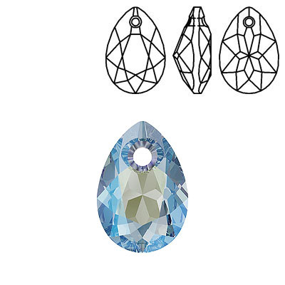 Crystal Swarovski 6433, Pear Cut Pendant. Aquamarine Shimmer coating. 16mm size