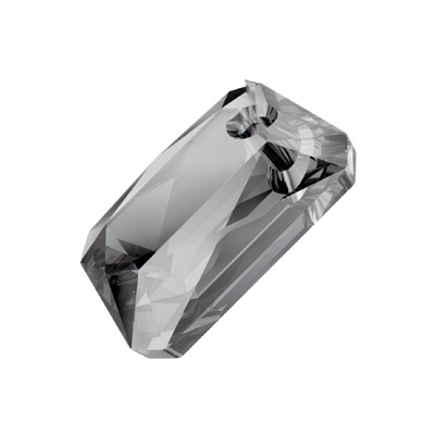 Crystal Swarovski 6435, Emerald Cut Pendant. Crystal Silver Night coating. 11.5mm size