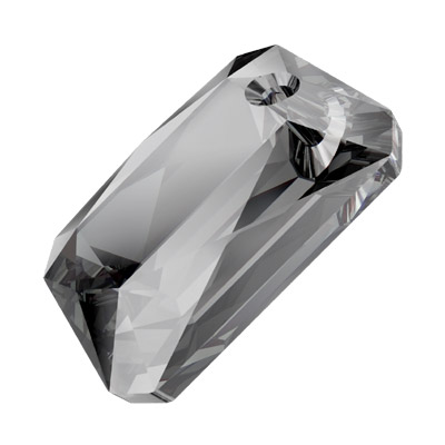 Crystal Swarovski 6435, Emerald Cut Pendant. Crystal Silver Night coating. 16mm size