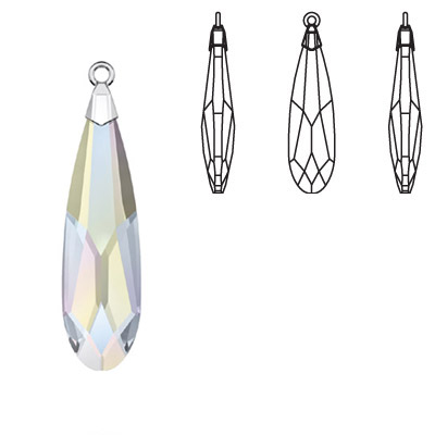 Crystal Swarovski 6533, Raindrop Pendant. AB Crystal coating. Trumpet cap, rhodium plated. 17mm size