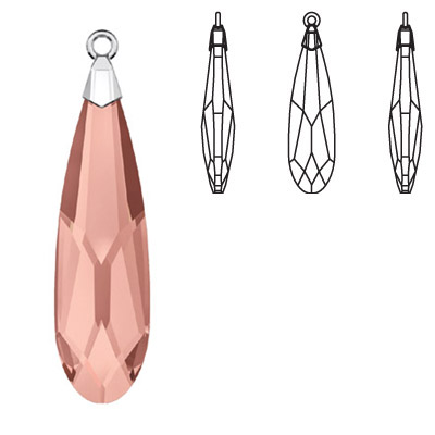 Crystal Swarovski 6533, Raindrop Pendant. Blush Rose color. Trumpet cap, rhodium plated. 23mm size