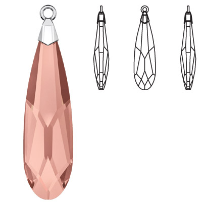 Crystal Swarovski 6533, Raindrop Pendant. Blush Rose color. Trumpet cap, rhodium plated. 33mm size