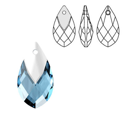 Crystal Swarovski 6565, Metallic Cap Pear-shaped Pendant. Aquamarine color. Light chrome metallic cap. 18mm size