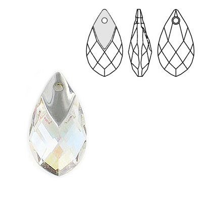 Crystal Swarovski 6565, Metallic Cap Pear-shaped Pendant. Blue AB Crystal coating. Light chrome metallic cap. 18mm size