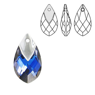 Crystal Swarovski 6565, Metallic Cap Pear-shaped Pendant. Crystal Malibu coating. Light chrome metallic cap. 18mm size