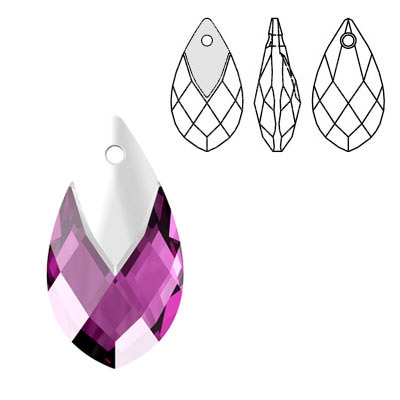 Crystal Swarovski 6565, Metallic Cap Pear-shaped Pendant. Amethyst color. Light chrome metallic cap. 22mm size