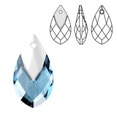 Crystal Swarovski 6565, Metallic Cap Pear-shaped Pendant. Aquamarine color. Light chrome metallic cap. 22mm size