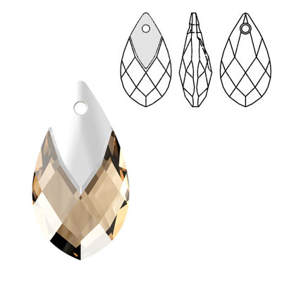 Crystal Swarovski 6565, Metallic Cap Pear-shaped Pendant. Light Colorado Topaz color. Light chrome metallic cap. 22mm si