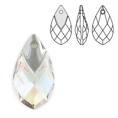 Crystal Swarovski 6565, Metallic Cap Pear-shaped Pendant. Blue AB Crystal coating. Light chrome metallic cap. 22mm size