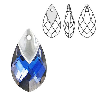 Crystal Swarovski 6565, Metallic Cap Pear-shaped Pendant. Crystal Malibu coating. Light chrome metallic cap. 22mm size