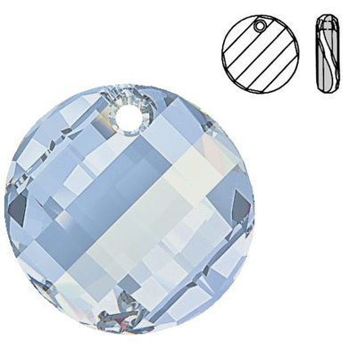 Crystal Swarovski 6621, Twist Pendant. Crystal Blue Shade coating. 28mm size