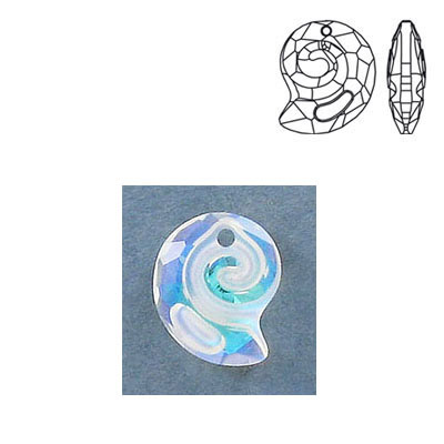 Crystal Swarovski 6731, Sea Snail Pendant. Blue AB Crystal coating. 14mm size