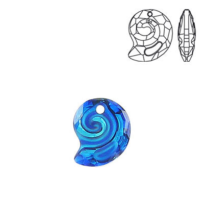 Crystal Swarovski 6731, Sea Snail Pendant. Crystal Bermuda Blue coating. 14mm size