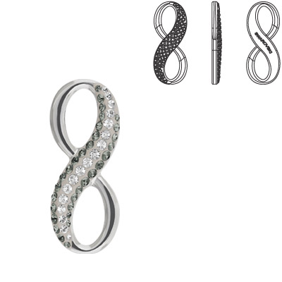 Crystal Swarovski 67402, Pave Infinity Pendant. Crystal color. Rhodium plated. 20mm size