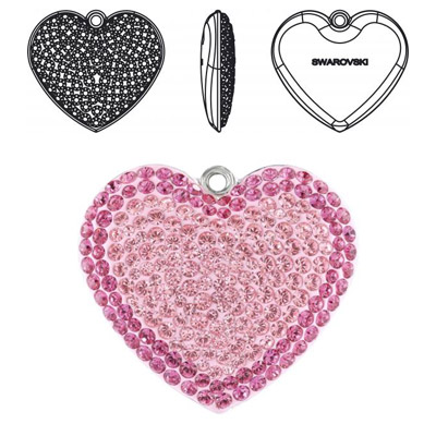 Crystal Swarovski 67412, Pave Heart Pendant. Light Rose color. Rhodium plated. 20mm size