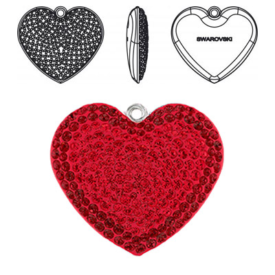 Crystal Swarovski 67412, Pave Heart Pendant. Light Siam color. Rhodium plated. 20mm size