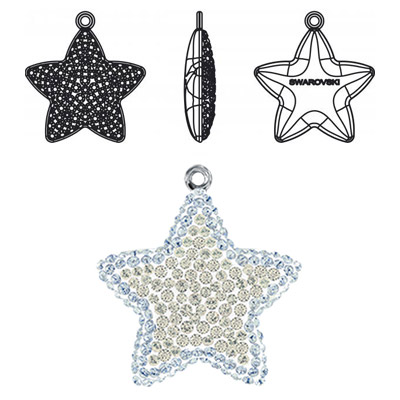 Crystal Swarovski 67422, Pave Star Pendant. Crystal Silver Shade coating. Rhodium plated. 20mm size