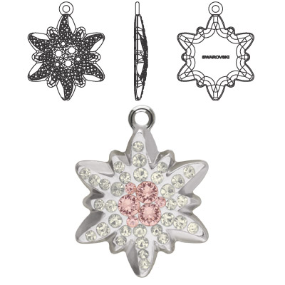 Crystal Swarovski 67442, Pave Edelweiss Pendant. Crystal Silver Shade coating. Rhodium plated. 14mm size