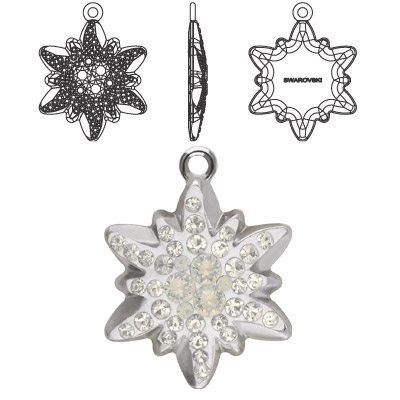 Crystal Swarovski 67442, Pave Edelweiss Pendant. Crystal Moonlight coating. Rhodium plated. 14mm size