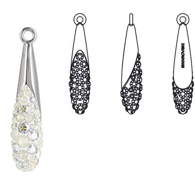 Crystal Swarovski 67452, Pave Teardrop Pendant. White Opal color. Rhodium plated. 20mm size