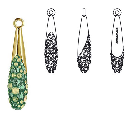Crystal Swarovski 67452, Pave Teardrop Pendant. Luminous Green coating and Erinite color. Gold plated. 20mm size
