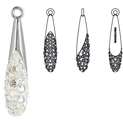 Crystal Swarovski 67452, Pave Teardrop Pendant. White Opal color. Rhodium plated. 30mm size