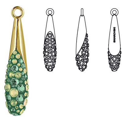 Crystal Swarovski 67452, Pave Teardrop Pendant. Luminous Green coating and Erinite color. Gold plated. 30mm size