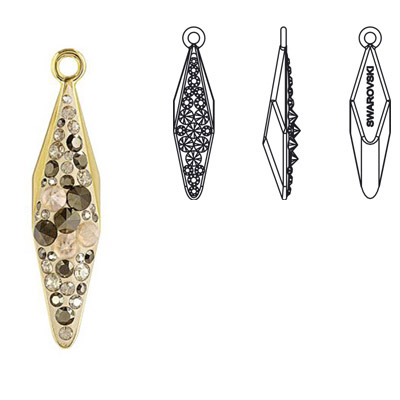 Crystal Swarovski 67482, Pave Polygon Pendant Spikes. Crystal Metallic Light Gold and Crystal Golden Shadow coating. Gol