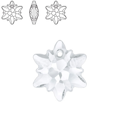 Crystal Swarovski 6748 Edelweiss Pendant. Crystal color. 14mm size. Frosted