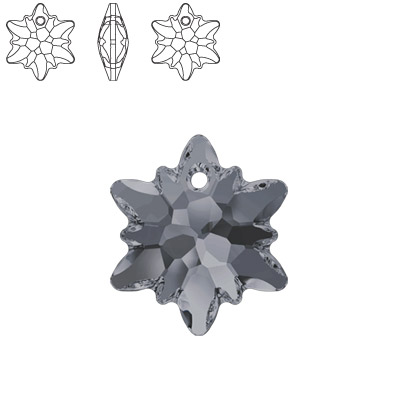 Crystal Swarovski 6748 Edelweiss Pendant. Crystal Silver Night coating. 14mm size
