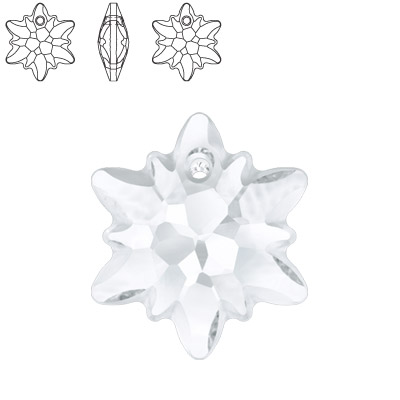 Crystal Swarovski 6748 Edelweiss Pendant. Crystal color. 18mm size. Frosted