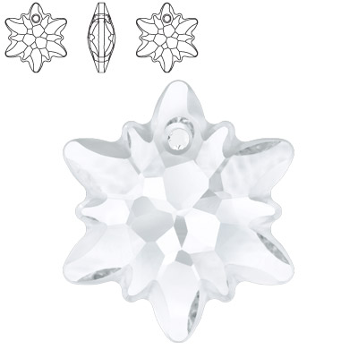 Crystal Swarovski 6748 Edelweiss Pendant. Crystal color. 28mm size. Frosted