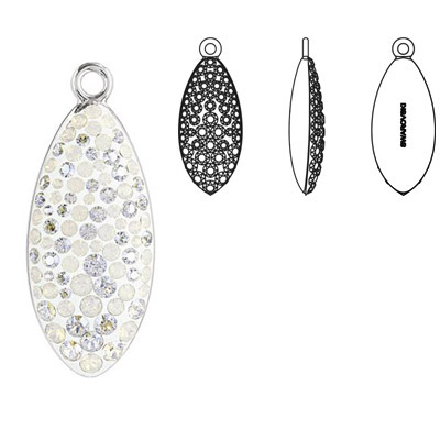 Crystal Swarovski 67492, Pave Petal Pendant. White Opal color. Rhodium plated. 20mm size