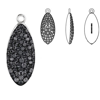 Crystal Swarovski 67492, Pave Petal Pendant. Crystal Silver Night coating. Rhodium plated. 20mm size