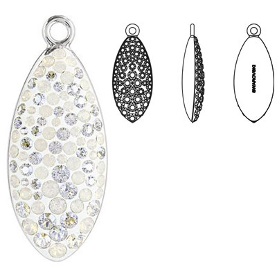 Crystal Swarovski 67492, Pave Petal Pendant. White Opal color. Rhodium plated. 30mm size